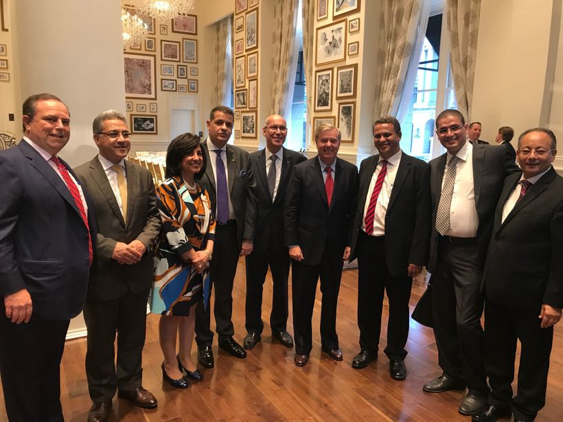 <em>Egyptian members of parliament with Senator Lindsey Graham (R-SC) at the reception in Washington D.C. </em>