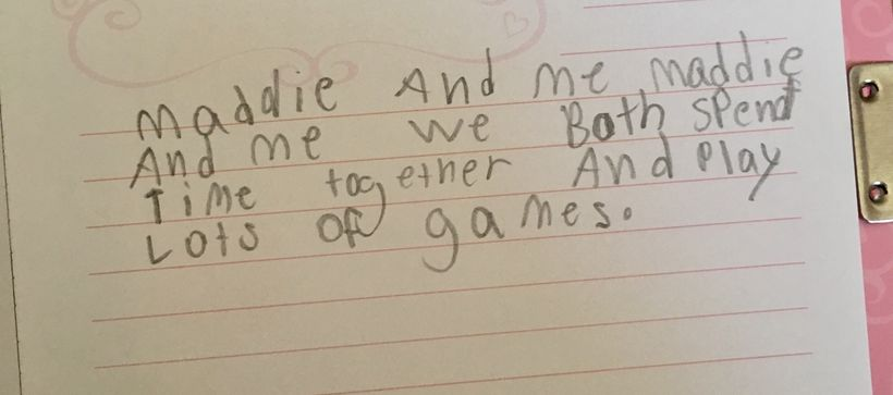 <em>Maddie and Me</em>: A poem written for me by one of the girls at the beginning of the summer.