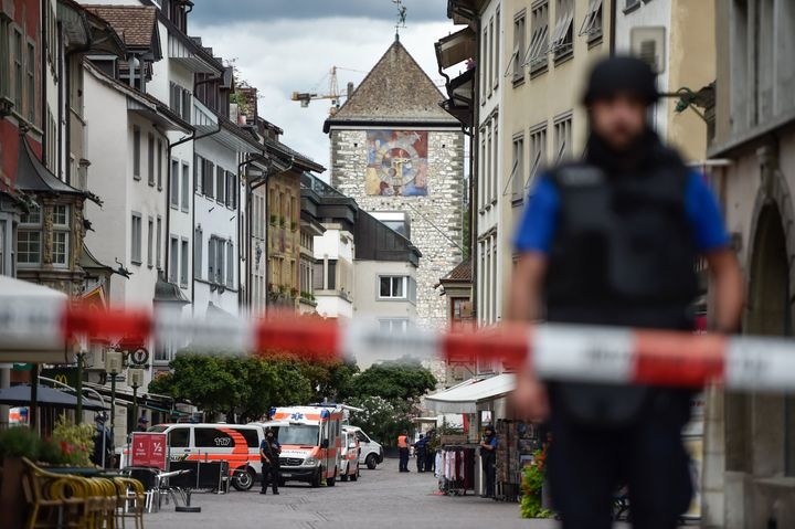 Police and ambulance cars in the old quarter of Schaffhausen on Monday