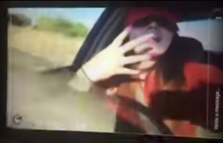 This woman was rapping behind the wheel of a car in a live video before she lost control and crashed into a field, eject