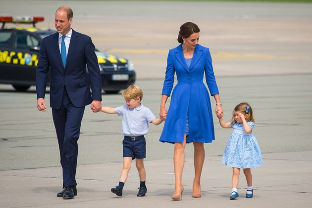 Prince William, pictured with wife Catherine and their children Charlotte and