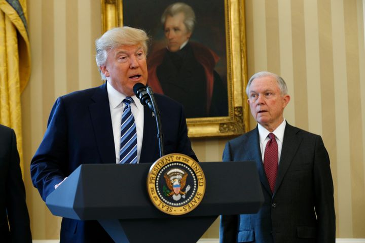 U.S. President Donald Trump speaks during a swearing-in ceremony for new Attorney General Jeff Sessions (R) at the White House in Washington, U.S., February 9, 2017.