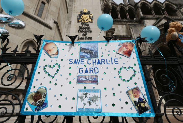 A poster in support of Charlie outside the Royal Courts of Justice in London