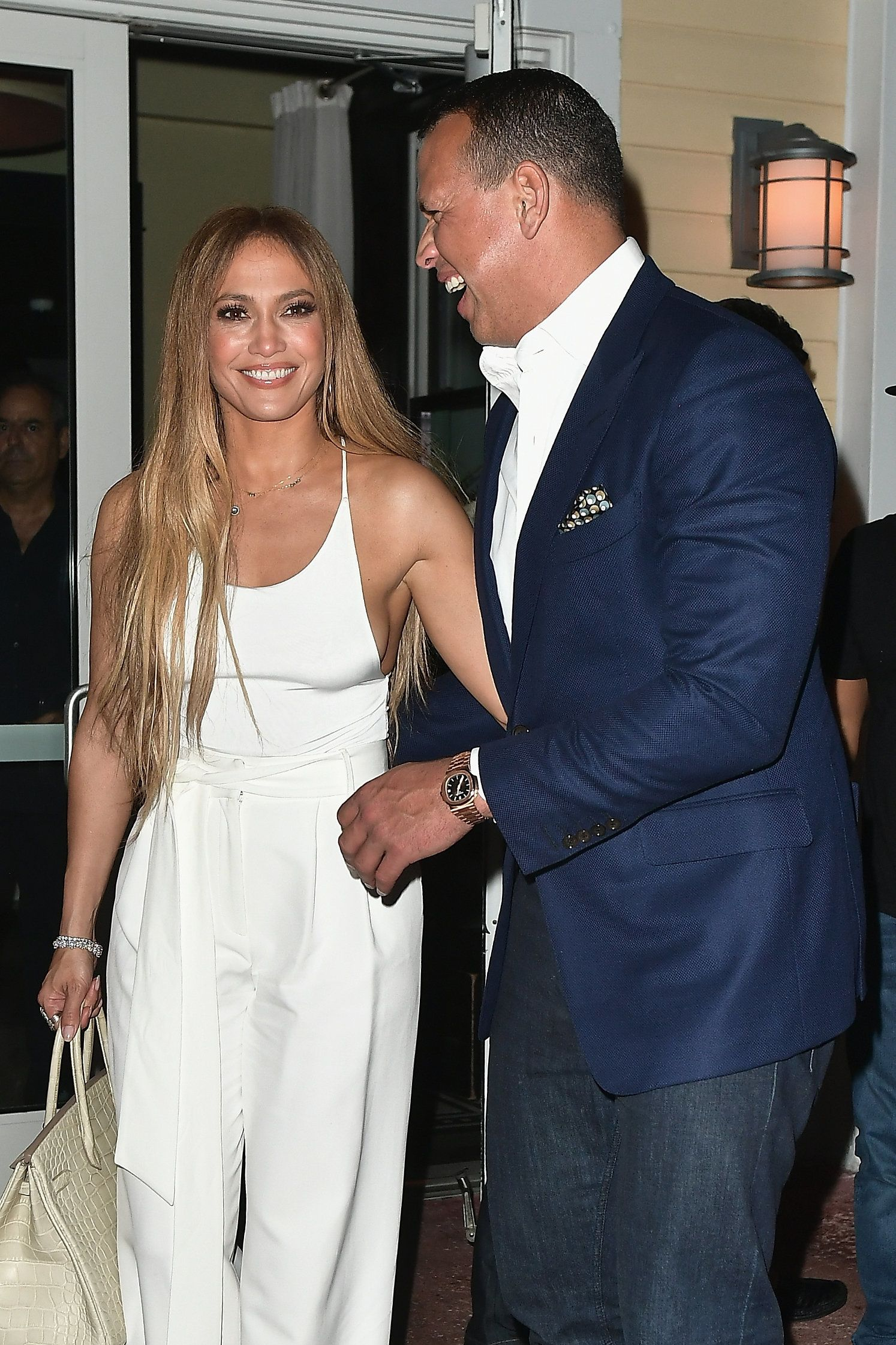 MIAMI, FL - JULY 23:  (Exclusive Coverage) Jennifer Lopez and Alex Rodriguez attend Prime 112 Restaurant on July 23, 2017 in Miami, Florida.  (Photo by Gustavo Caballero/GC Images)