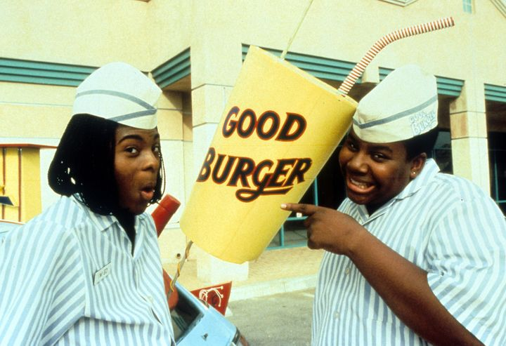 "Kel Mitchell and Kenan Thompson pose for a ""Good Burger"" publicity shot in 1997."