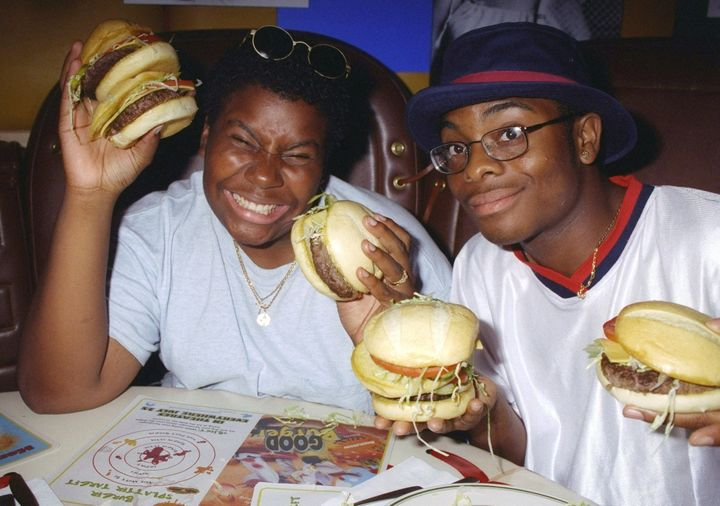 "Kenan Thompson and Kel Mitchell pose at a screening party for ""Good Burger"" in 1997."