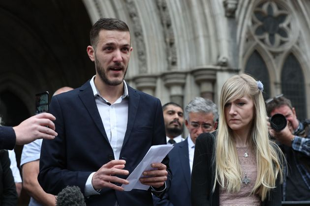 Chris Gard and Connie Yates speaking outside the High Court in London on