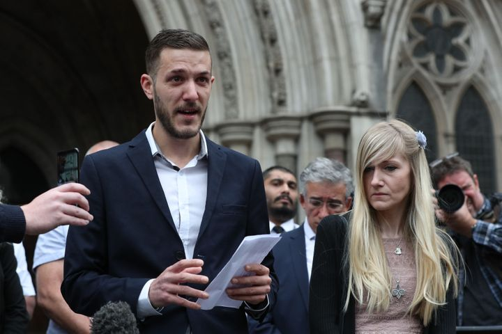 Chris Gard and Connie Yates speaking outside the High Court in London on Monday
