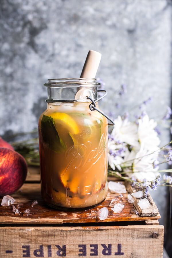 """<strong>Get the <a href=""""https://www.halfbakedharvest.com/grilled-peach-and-basil-arnold-palmer-with-or-without-bourbon/"""" tar"""