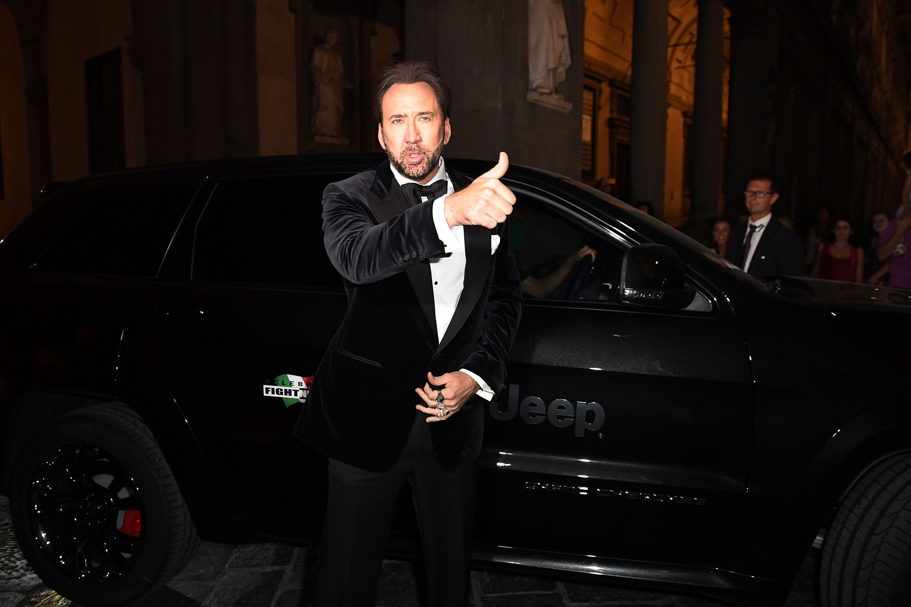 FLORENCE, ITALY - SEPTEMBER 11:  Nicolas Cage arrives at the Celebrity Fight Night Gala dinner on Jeep Cherokee on September 11, 2016 in Florence, Italy.  (Photo by Valerio Pennicino/Getty Images for Jeep)