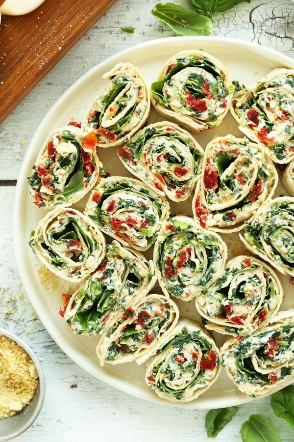 """<strong>Get the <a href=""""https://minimalistbaker.com/sun-dried-tomato-and-basil-pinwheels/"""" target=""""_blank"""">Sun-Dried Tomato"""