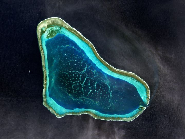 Satellite image of Scarborough Shoal in the South China Sea. 2017.