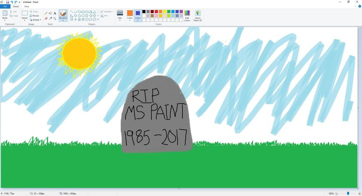 A screengrab shows MS Paint in action on July 24, 2017.