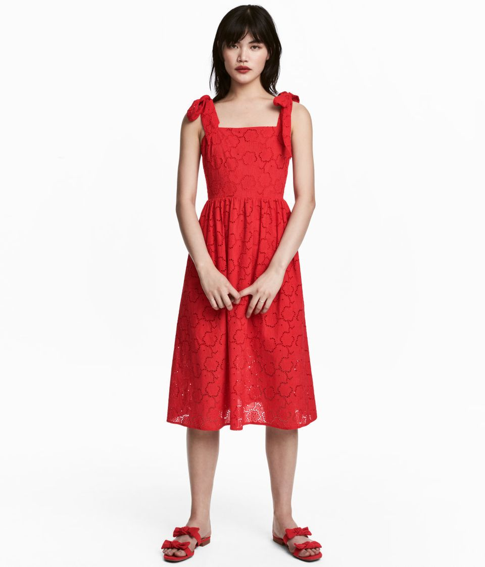 eyelet embroidery dress