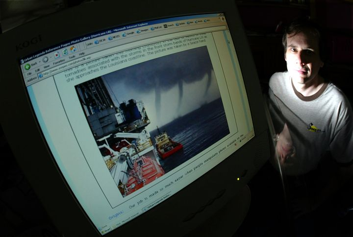 Snopes owner David Mikkelson poses next to a doctored storm photo. He is at the center of a legal battle for contro