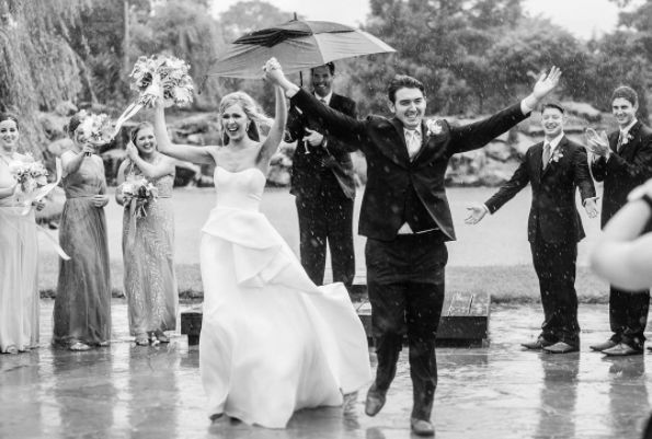 """What do you do when a sudden downpour happens in the middle of your ceremony? You own it! It was stunning and SO memora"