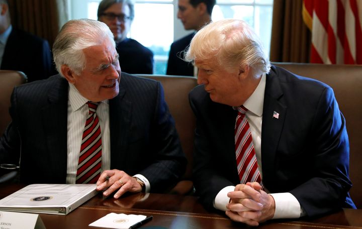 President Donald Trump and Tillerson during a meeting on June 12.