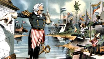 Satirical cartoon in 'Judge': The Monroe doctrine applied to Latin America under certain conditions,, January 1903,, United States,, Washington. Library of Congress, . (Photo by: Photo12/UIG via Getty Images)