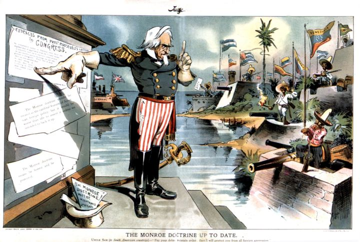 Satirical cartoon about the Monroe Doctrine. January 1903.