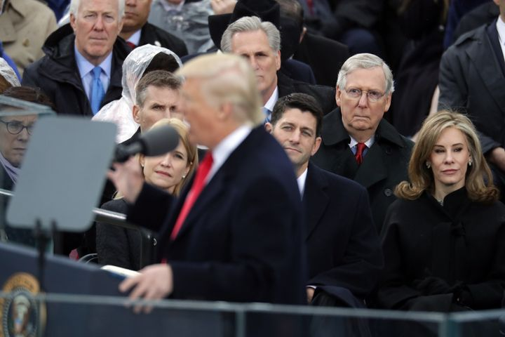 Donald Trump is inaugurated as the 45th president of the United States on Jan. 20. Behind him are House Majority Leader Paul