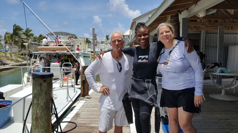 with dive master Jody Ford of Stuart Cove's Dive Bahamas