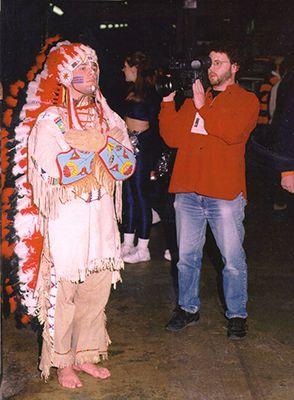 <p>Jay Rosenstein films Chief Illiniwek</p>