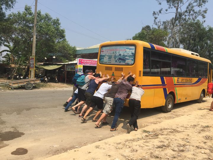 <p>Mishaps can find you anywhere. You can find yourself pushing a broken bus from Cambodia to Vietnamese border under the excruciating sun. </p>