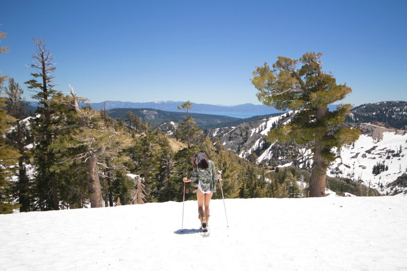 Snowshoeing at the top of Squaw Valley
