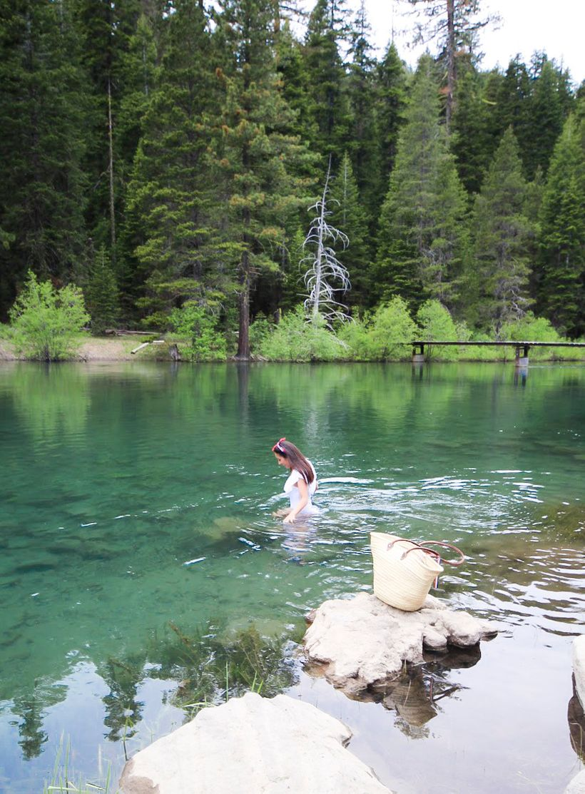 Pulling over for a quick swim in chilly waters during the drive between Squaw Valley and Incline.