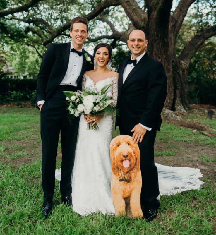 Bride's Dog Couldn't Come To Her Wedding, So Her Dad Brought A Life-Sized Cardboard Version Along