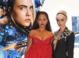 Rihanna And Cara Delevingne Rock Plunging Necklines At 'Valerian' Premiere In London
