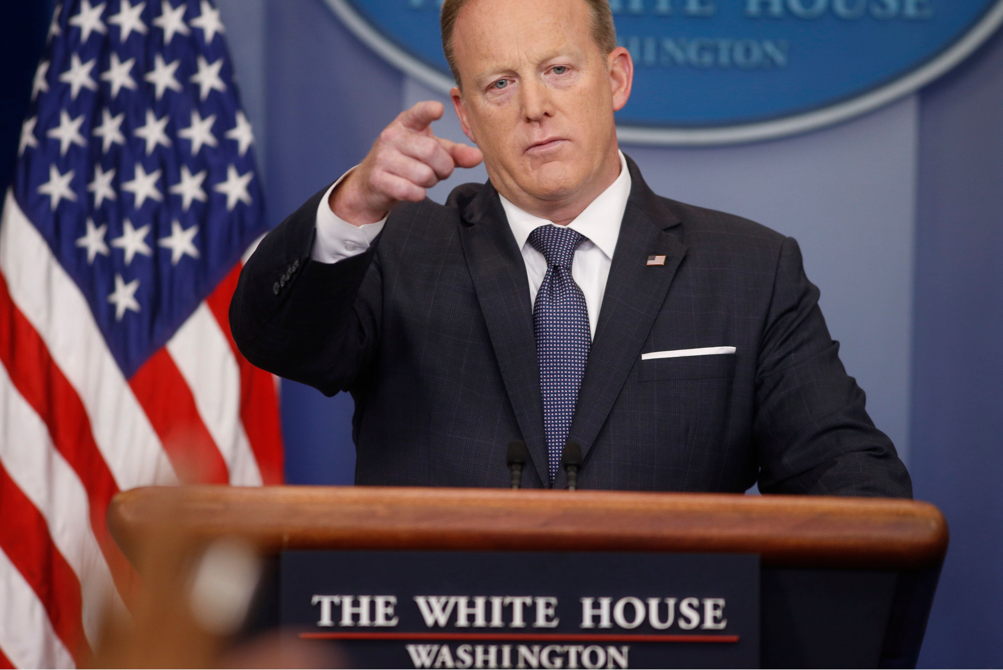 White House Press Secretary Sean Spicer takes questions during his daily briefing at the White House in Washington, U.S., May 30, 2017. REUTERS/Joshua Roberts