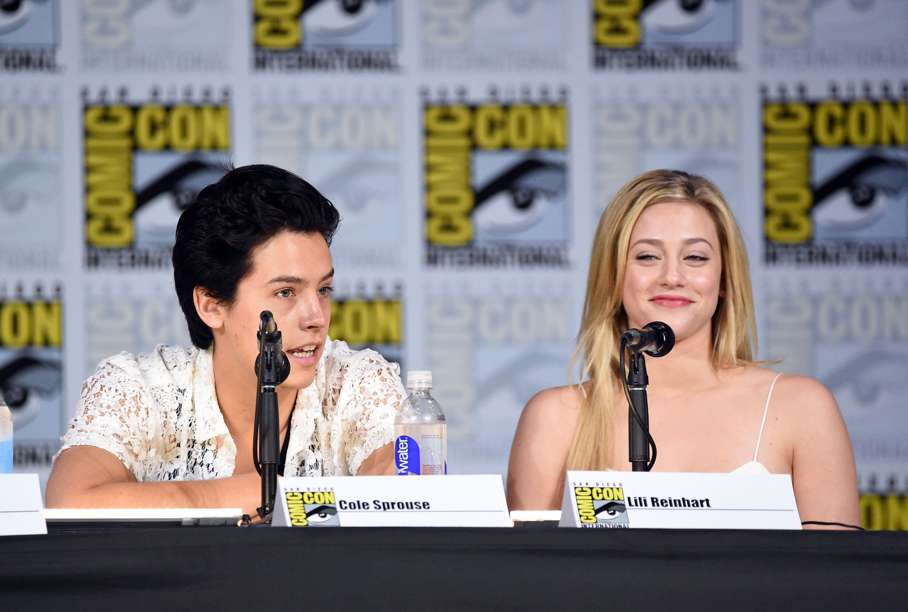 "Cole Sprouse and Lili Reinhart at the ""Riverdale"" panel during Comic-Con."