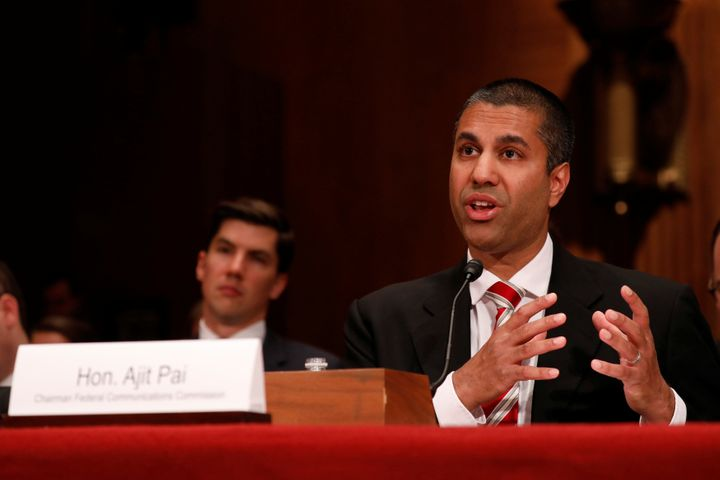 Ajit Pai, chairman of the Federal Communications Commission, testifies before a Senate Appropriations Financial Services and