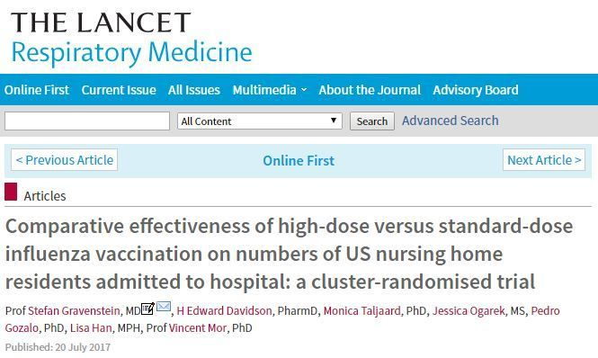 Comparative effectiveness of high-dose versus standard-dose influenza vaccination on numbers of US nursing home residents adm