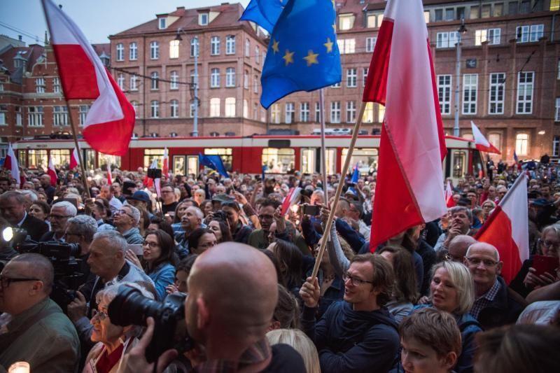 People protesting in Gdansk. Photo: D. Paszlinski