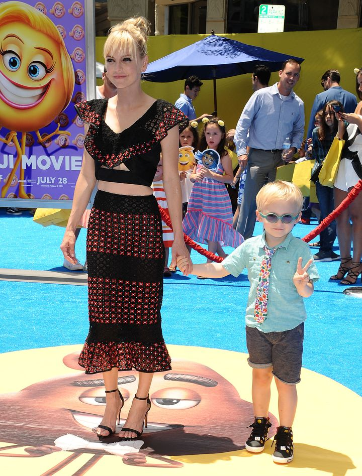 "Anna Faris brought her son, Jack, to the premiere of ""The Emoji Movie."""