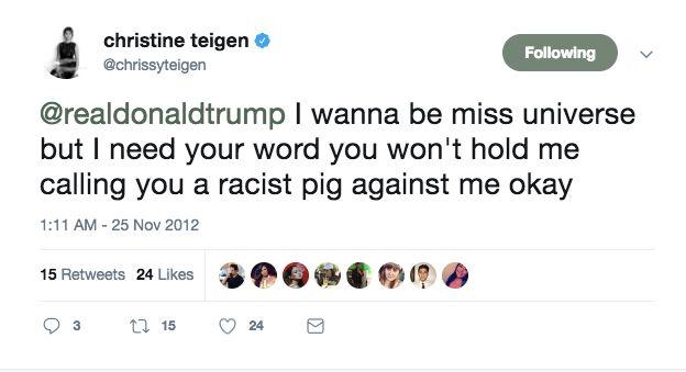 Model Chrissy Teigen says Trump blocked her on Twitter