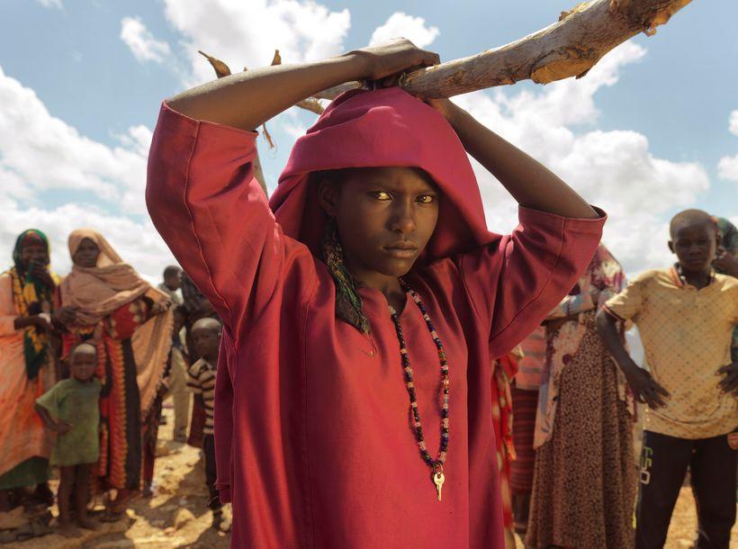 May 2017, Baidoa, Somalia. Fadumo Nunow Abdillow, 15, at Muuri displacement camp, Baidoa District, Somalia. In Baidoa, at lea
