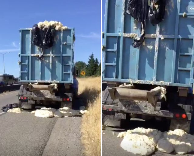 Dough is seen overflowing from a truck alongside an interstate in Washington on Monday.