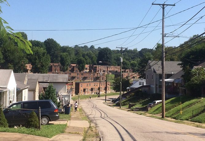 A neighborhood in Huntington, West Virginia, where more than two dozen opioid overdoses occurred within four hours in August,