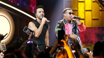 PREMIOS BILLBOARD DE LA MÚSICA LATINA 2017 -- Pictured: Luis Fonsi, Daddy Yankee perform on stage at the Watsco Center in the University of Miami, Coral Gables, Florida on April 27, 2017 -- (Photo by: John Parra/Telemundo/NBCU Photo Bank via Getty Images)
