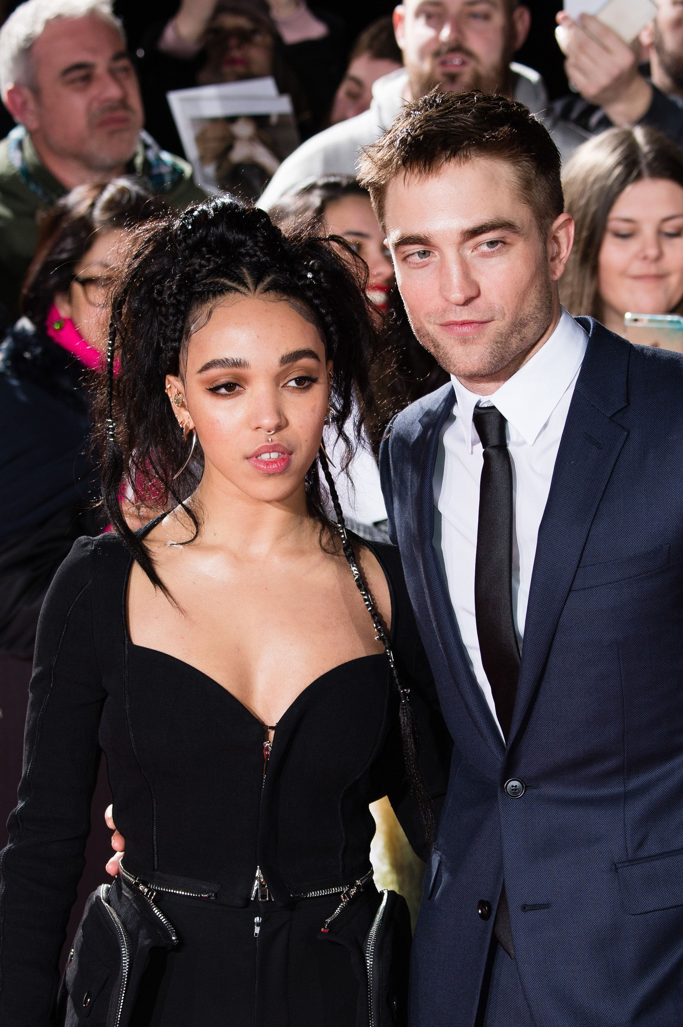 LONDON, ENGLAND - FEBRUARY 16:  (L-R) FKA Twigs and Robert Pattinson arrive at The Lost City of Z UK premiere at The British Museum on February 16, 2017 in London, United Kingdom.  (Photo by Jeff Spicer/Getty Images)
