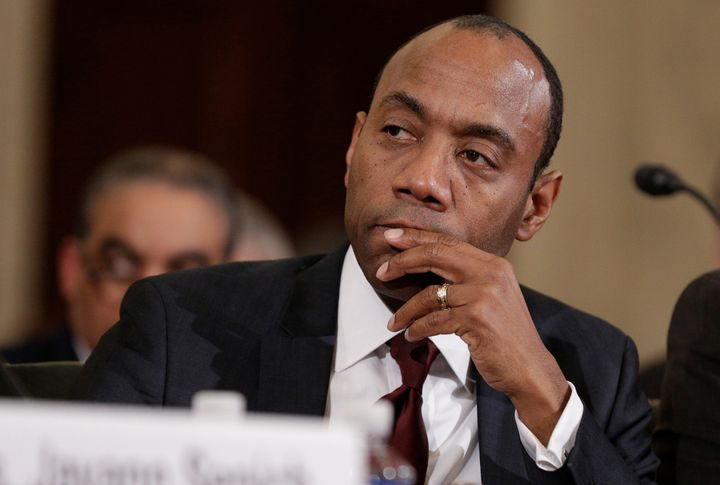 Former president and CEO of the NAACP Cornell Brooks listening to testimony during the second day of confirmation hearin