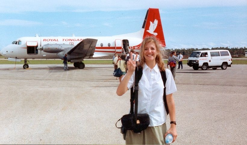 Christine about to board her Peace Corps plane.