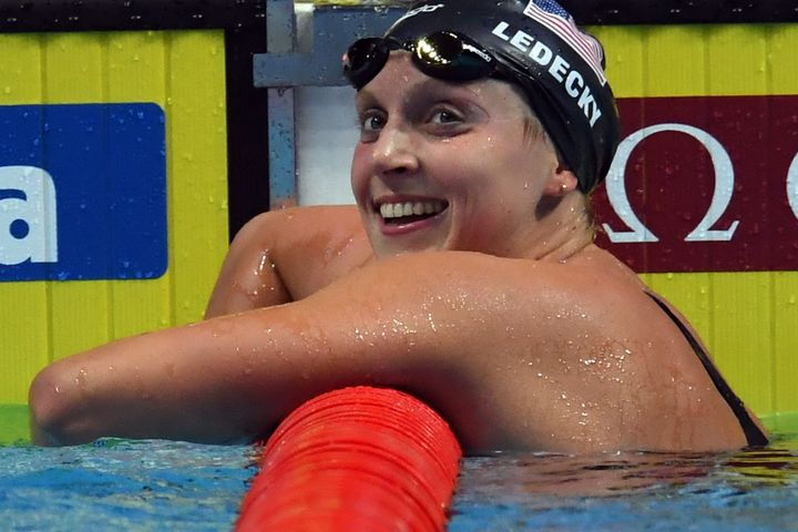 Team USA's Katie Ledecky won the women's 1,500-meter freestyle final during the swimming competition at the World Aquatics Ch