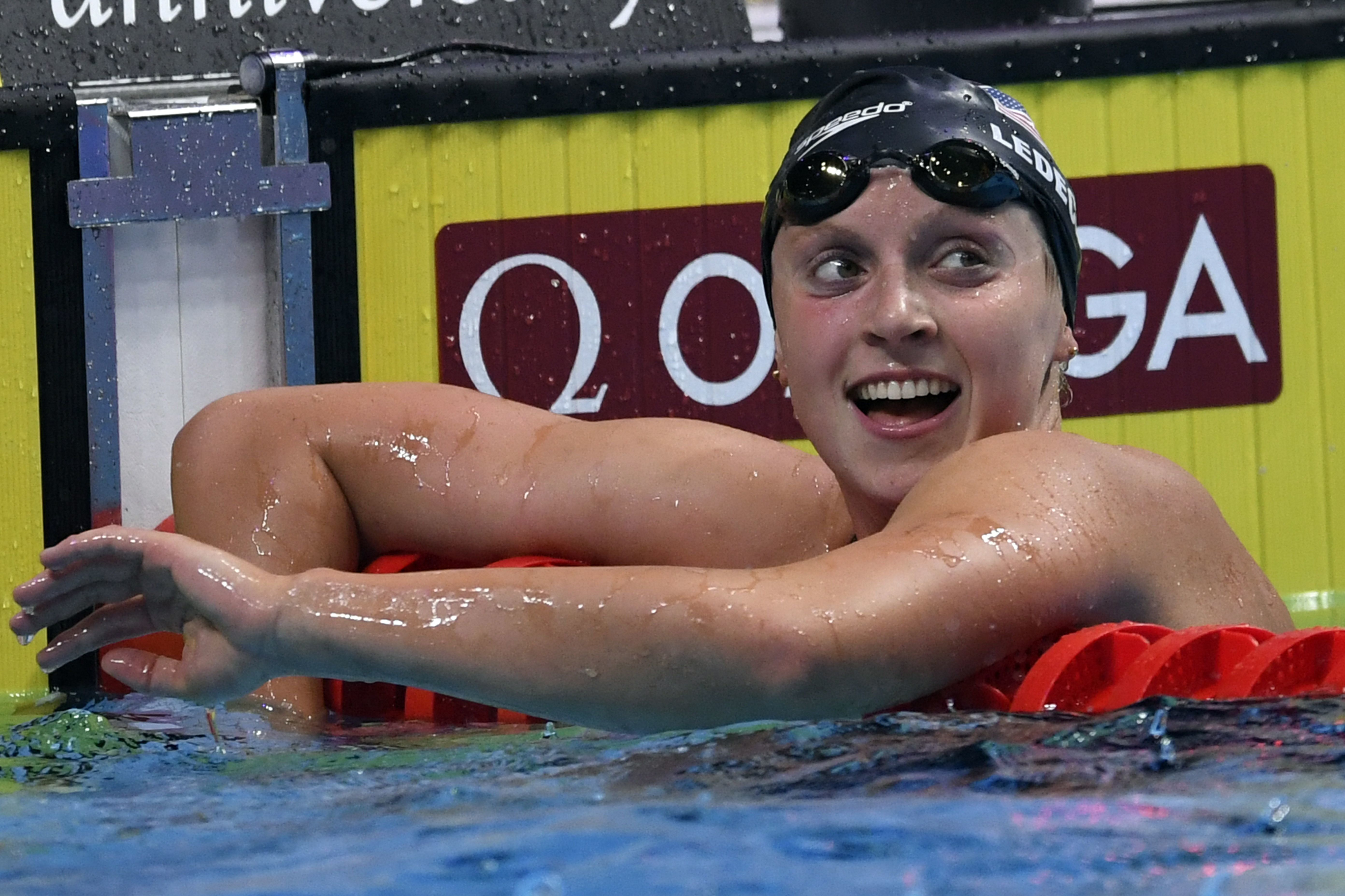 US Katie Ledecky reacts after competing in the women's 1500m freestyle final during the swimming competition at the 2017 FINA World Championships in Budapest, on July 25, 2017.  / AFP PHOTO / CHRISTOPHE SIMON        (Photo credit should read CHRISTOPHE SIMON/AFP/Getty Images)