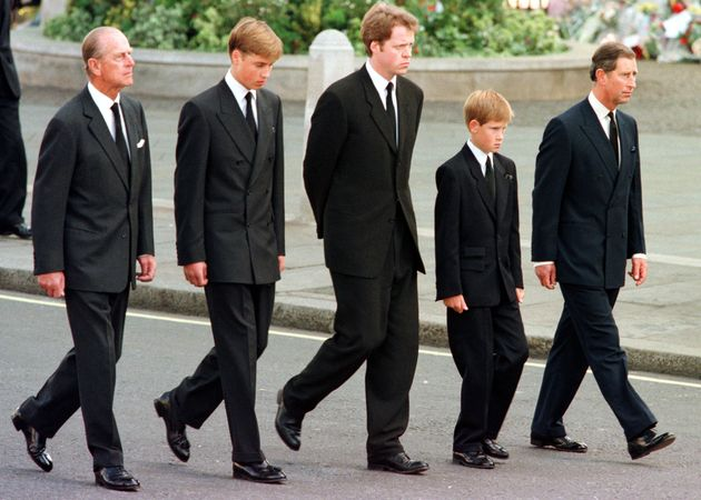 Earl Spencer, third from left, walked alongside the Duke of Edinburgh, Princes William and Harry, and...