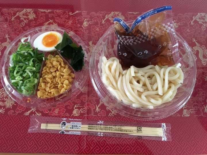 Hiyashi Tanuki Udon from a convenience store <em>unpacked</em>.