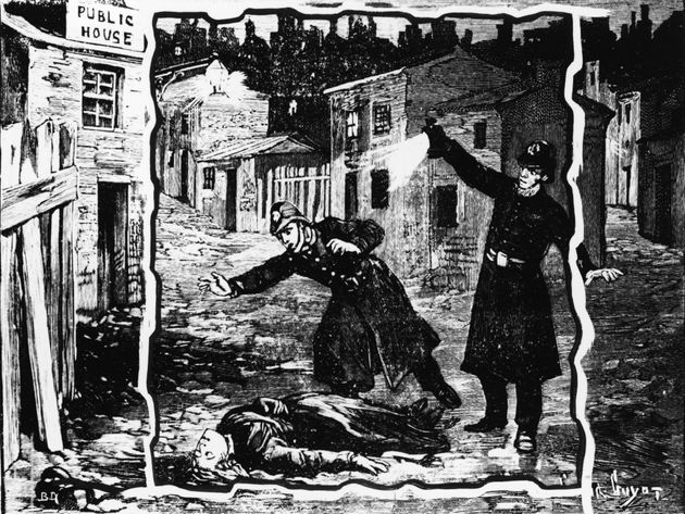 An illustration showing the police discovering the body of one of Jack the Ripper's victims, probably...